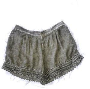 Pants - NWT Black Swan Olive Green Crochet Lace Shorts L